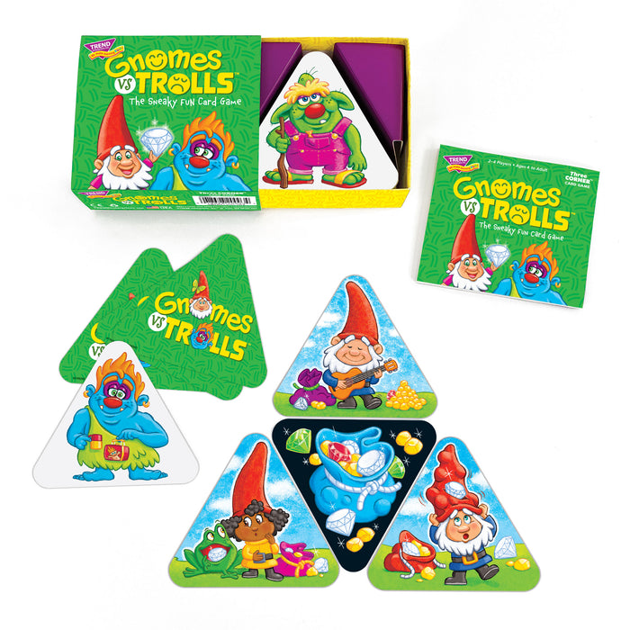 GNOMES vs TROLLS Three CORNER™ Card Game box and contents