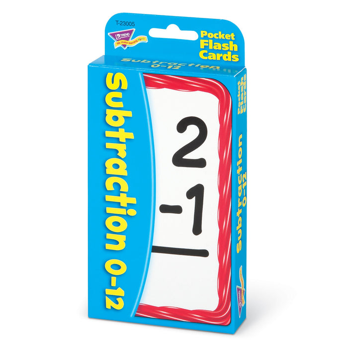 T23005 Flash Cards Subtraction 0 to 12 Package Right