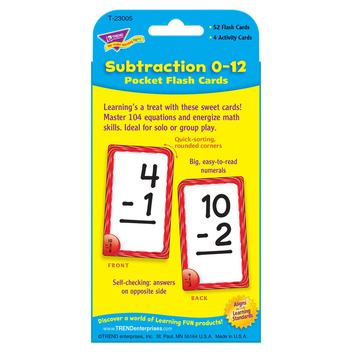 T23005 Flash Cards Subtraction 0 to 12 Package Back