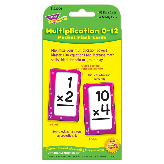 T23006 Flash Cards Multiplication 0 to 12 Package Back