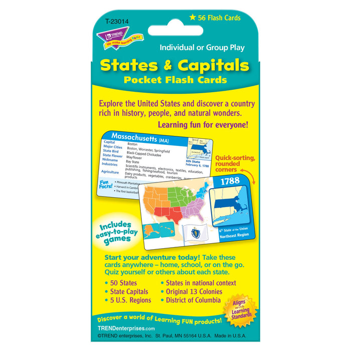 T23014 Flash Cards States Capitals Package Back