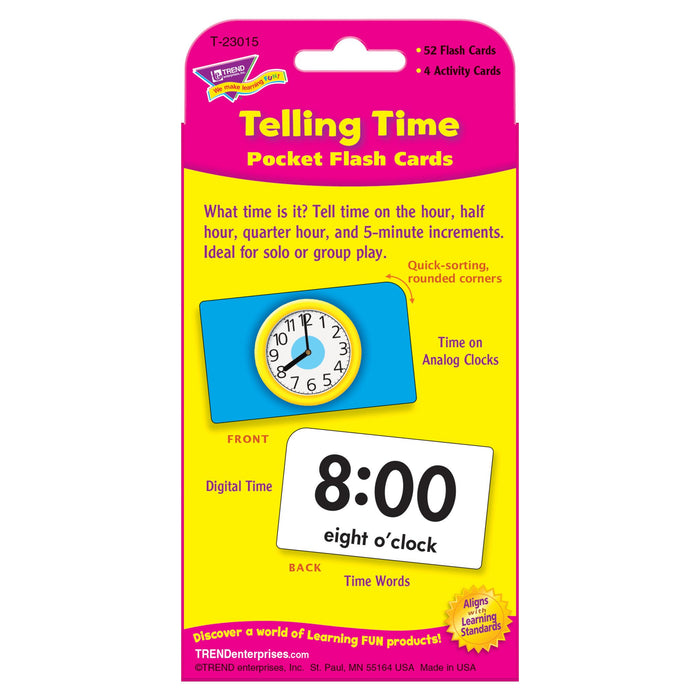 T23015 Flash Cards Telling Time Package Back
