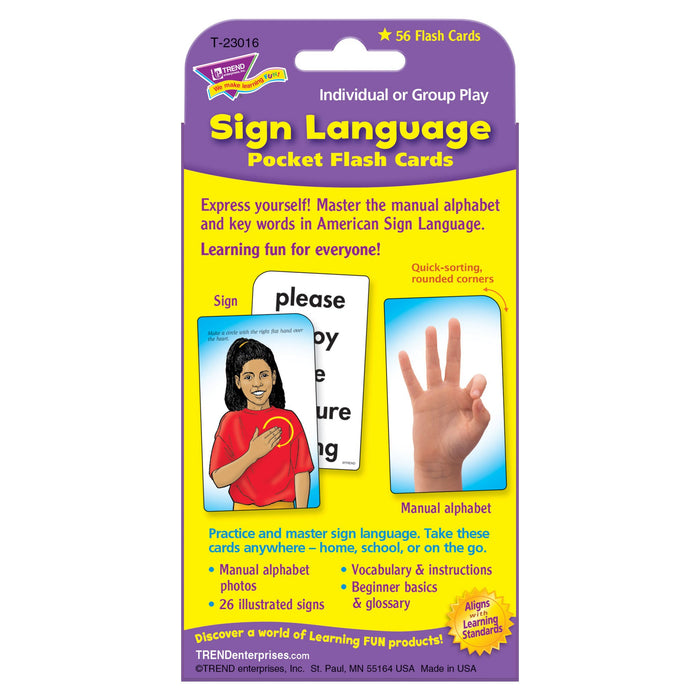 T23016 Flash Cards Sign Language Package Back