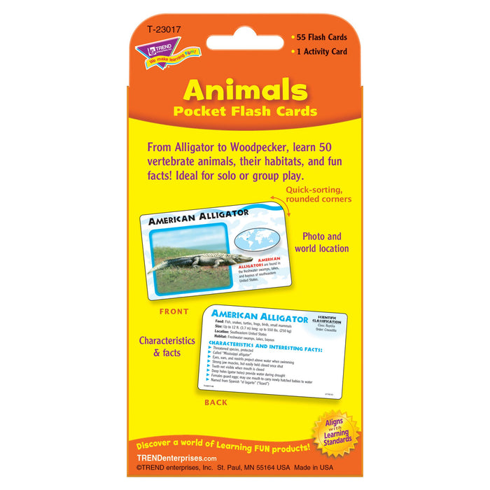 T23017 Flash Cards Animals Package Back