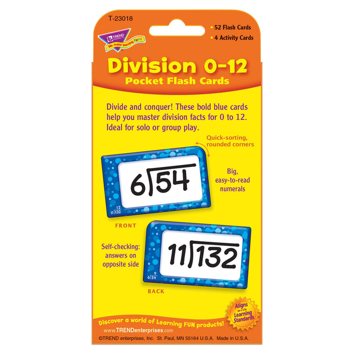 T23018 Flash Cards Division 0 to 12 Package Back