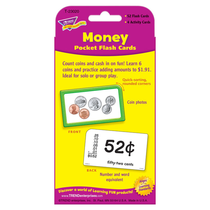 T23020 Flash Cards Money Package Back