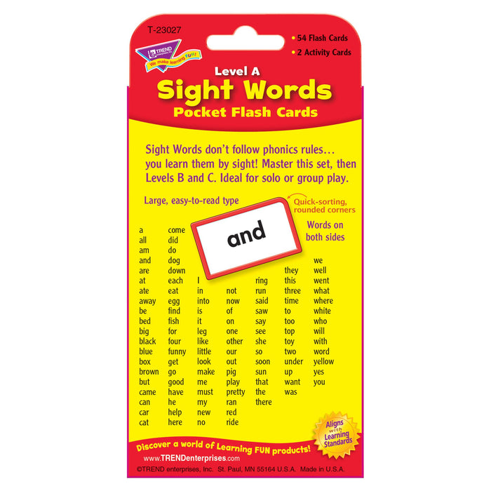 T23027 Flash Cards Sight Words Level A Package Back