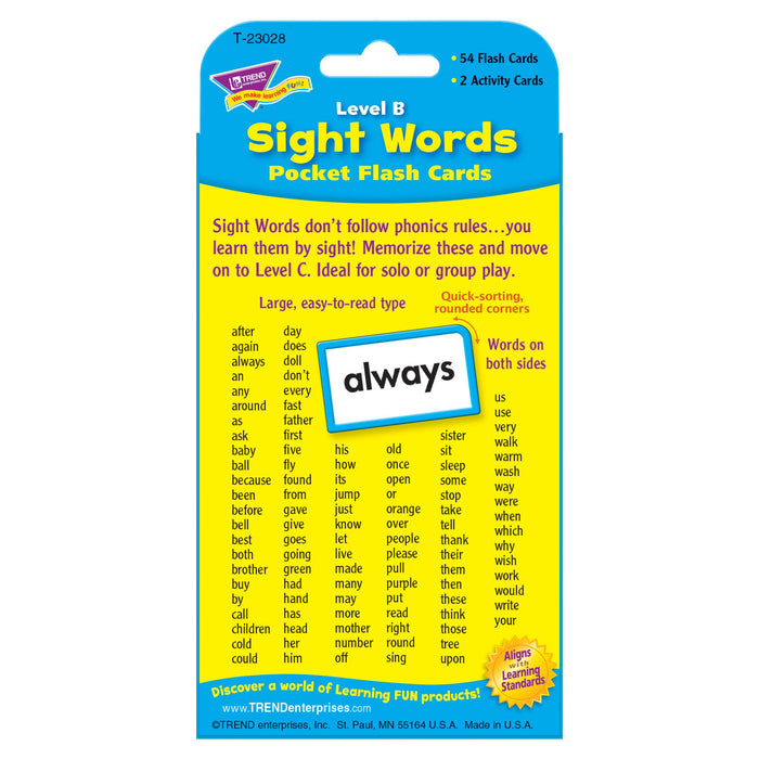 T23028 Flash Cards Sight Words Level B Package Back