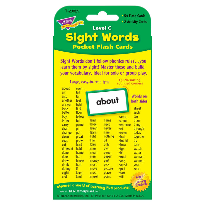 T23029 Flash Cards Sight Words Level C Package Back