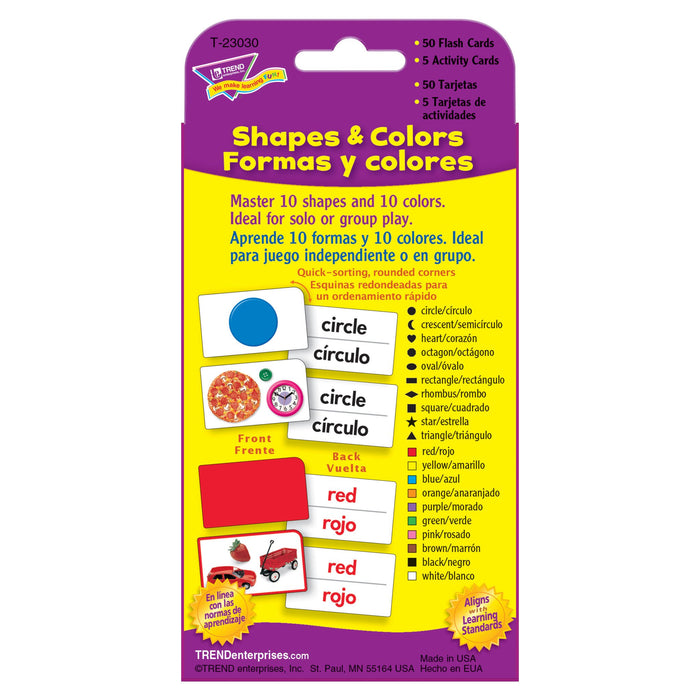 T23030 Flash Cards Colors Shapes Spanish Package Back