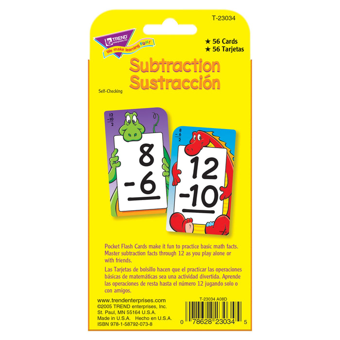 T23034 Flash Cards Subtraction 0 to 12 Spanish Package Back