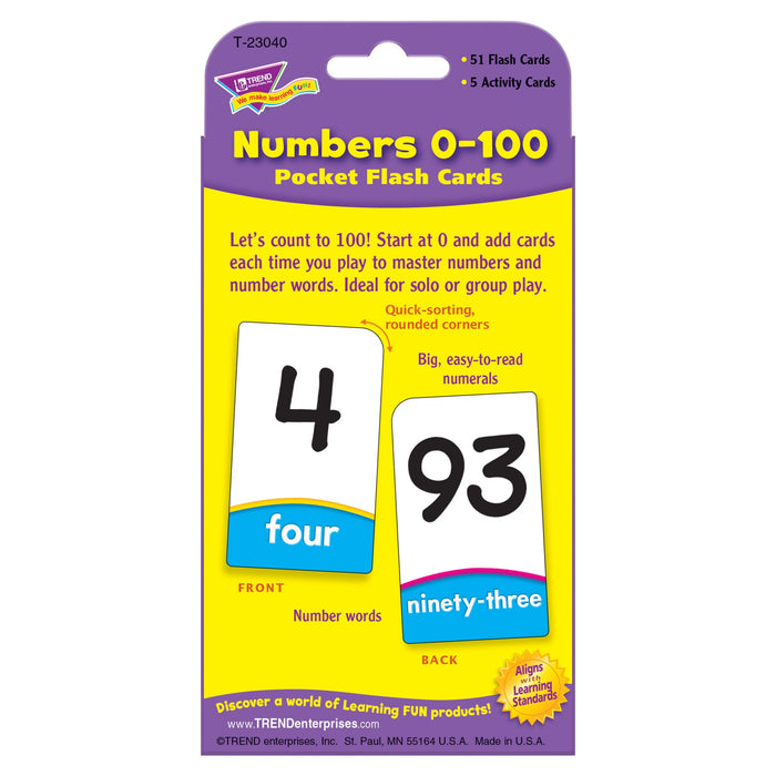 T23040 Flash Cards Numbers 0 to 100 Package Back