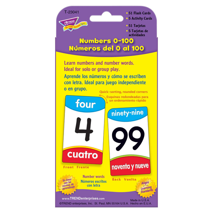 T23041 Flash Cards Numbers 0 to 100 Spanish Package Back