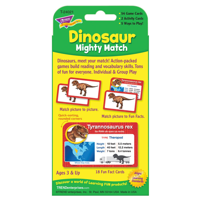 T24021 Game Cards Dinosaur Mighty Match Package Back