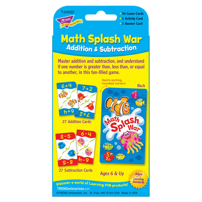 T24022 Game Cards Math Splash War Package Back