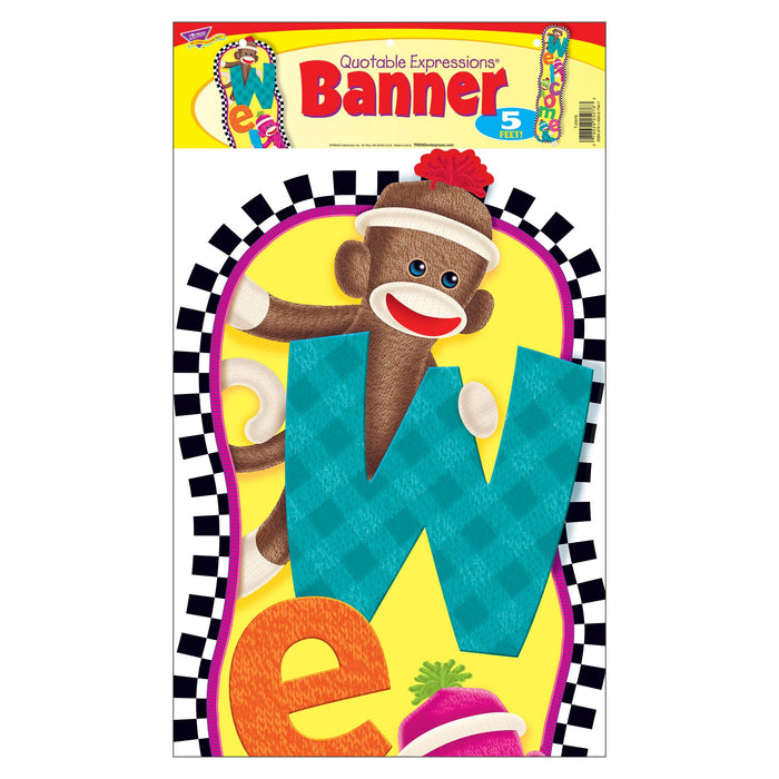 T25076 Banner 5 Feet Welcome Sock Monkey Package