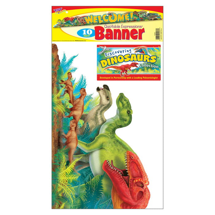 T25081 Banner 10 Feet Welcome Discovering Dinosaurs Package