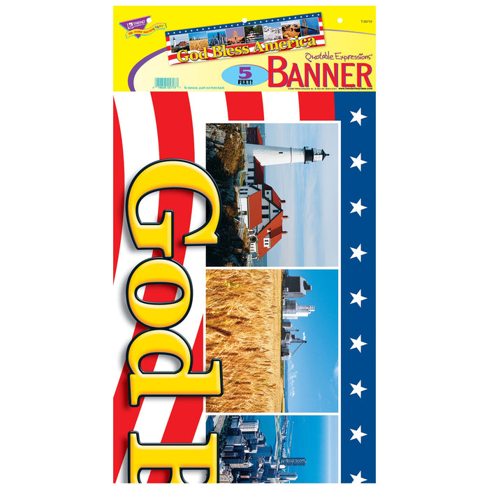 T25713 Banner 5 Feet God Bless America Package