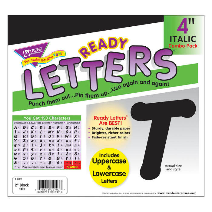 T2703 Letters 4 Inch Italic Black Package