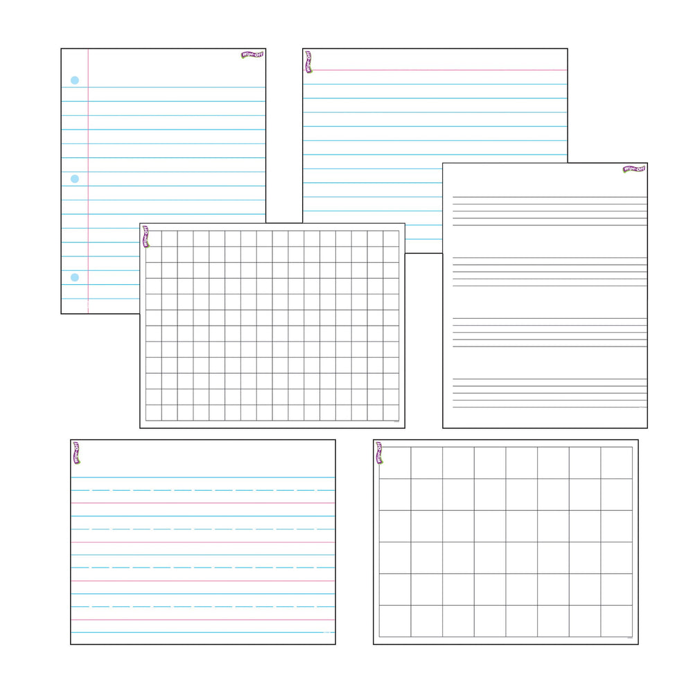 T27906 Wipe Off Chart Pack Papers Grids