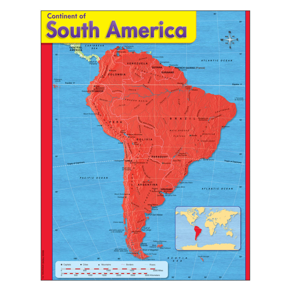 T38144 Learning Chart South America Map