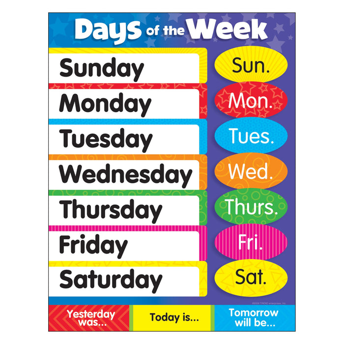 T38203 Learning Chart Days of the Week