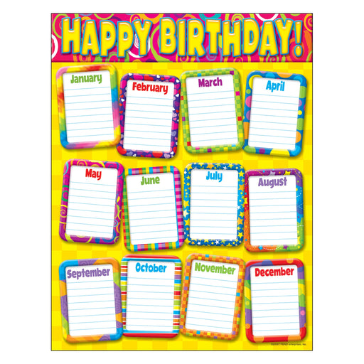 T38264 Learning Chart Razzle Dazzle Birthday