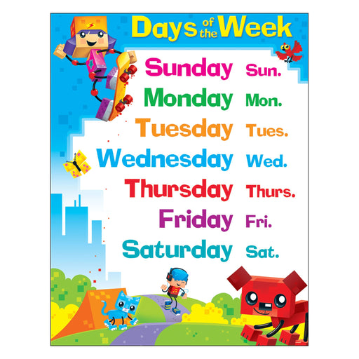 T38375 Learning Chart Days Week Block Star Kids