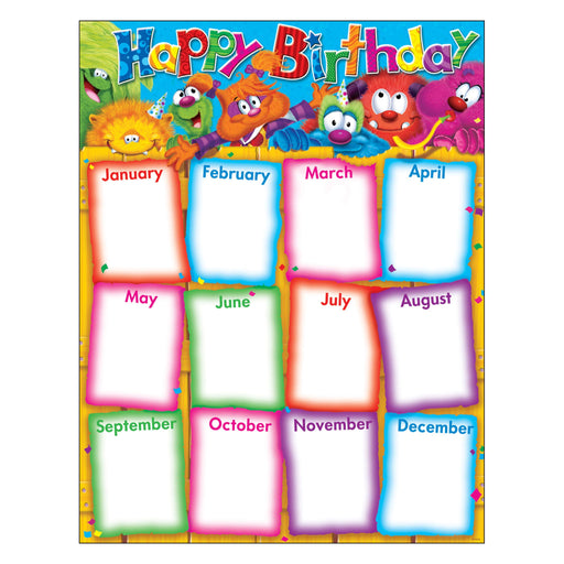 T38425 Learning Chart Birthday Furry Monster Friends