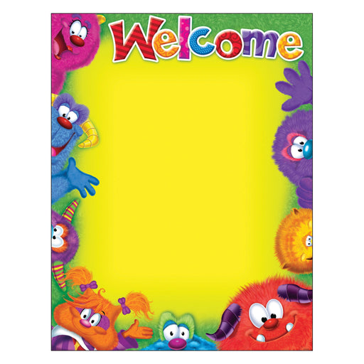 T38431 Learning Chart Welcome Furry Monster Friends