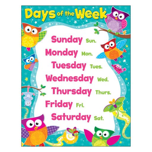 T38447 Learning Chart Days Week Owl Stars
