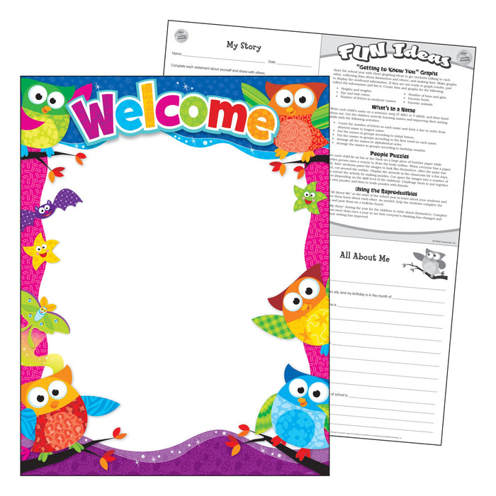 T38451 Learning Chart Welcome Owl Stars