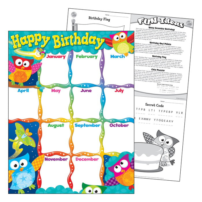 T38452 Learning Chart Happy Birthday Owl Stars