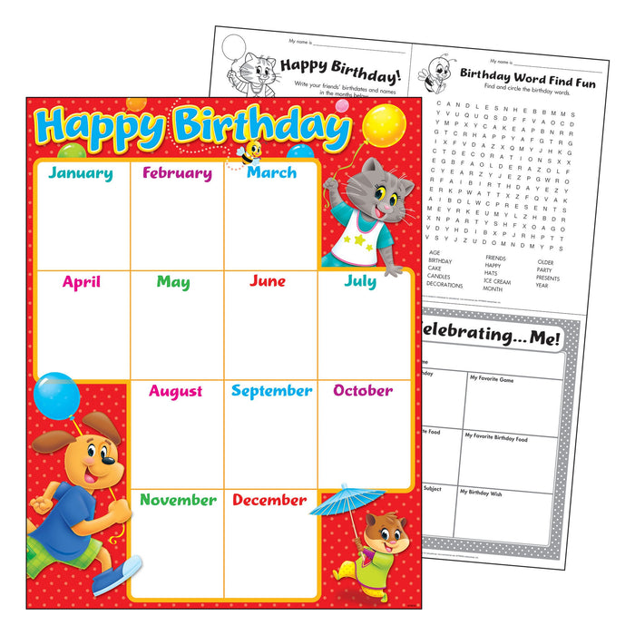 T38456 Learning Chart Birthday Playtime Pets