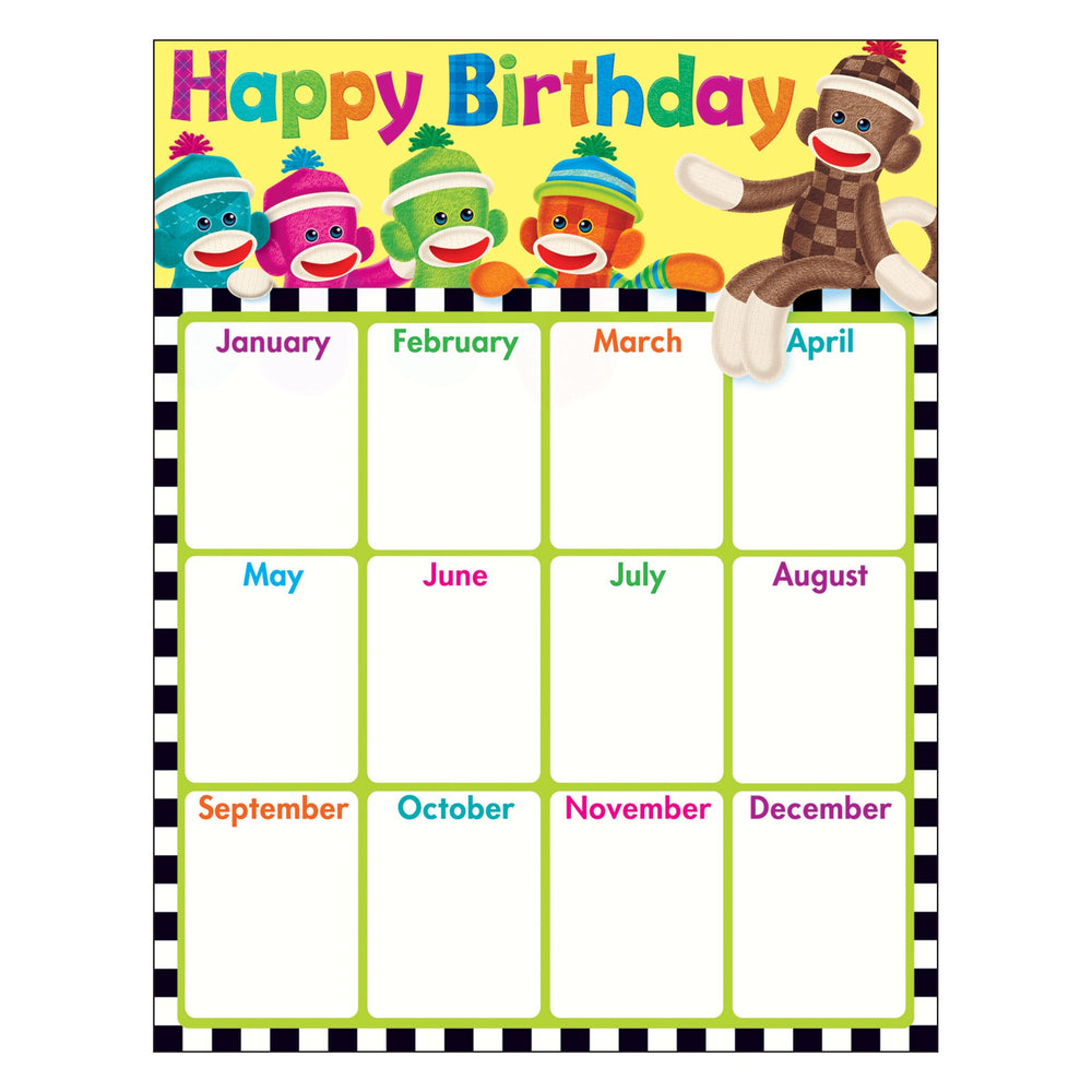 T38471 Learning Chart Birthday Sock Monkey