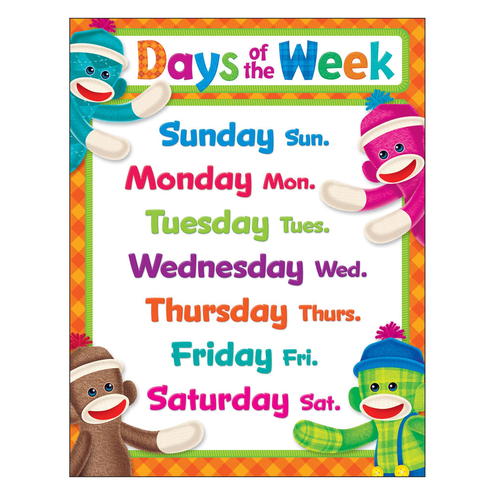 T38472 Learning Chart Day Week Sock Monkey