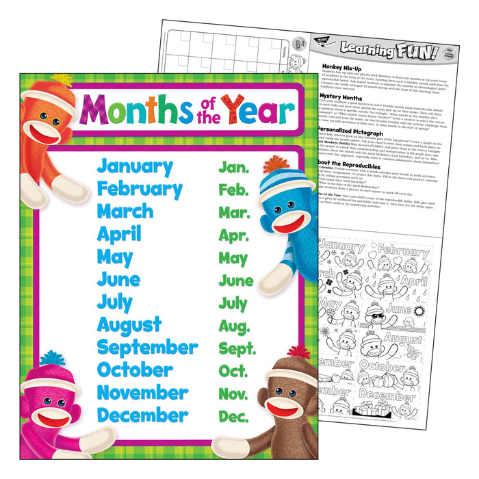 T38473 Learning Chart Month Year Sock Monkey
