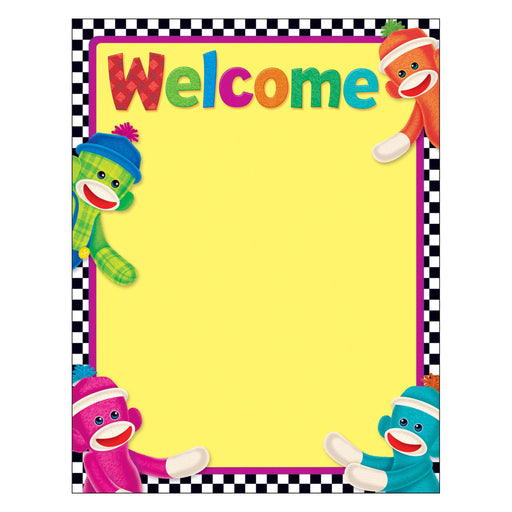 T38475 Learning Chart Welcome Sock Monkey