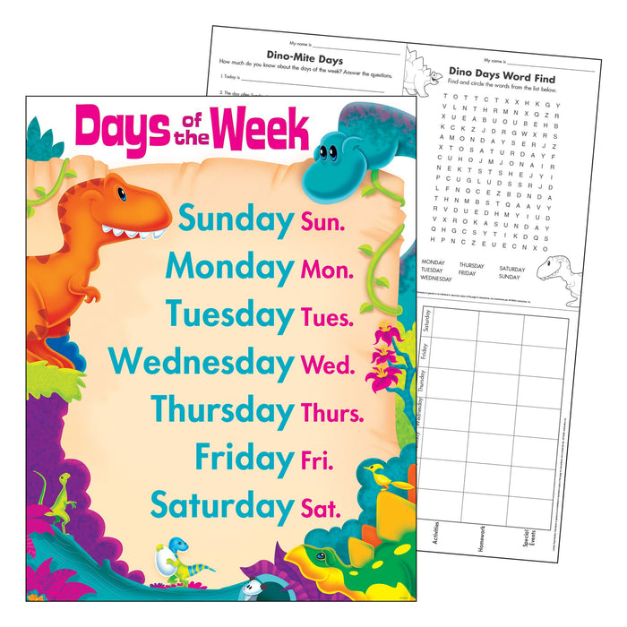 T38481 Learning Chart Day Week Dinosaur Pals