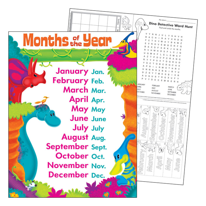 T38482 Learning Chart Month Year Dinosaur Pals
