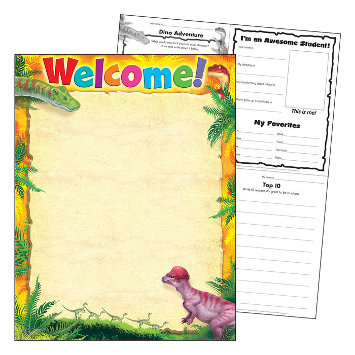T38493 Learning Chart Welcome Realistic Dinosaurs
