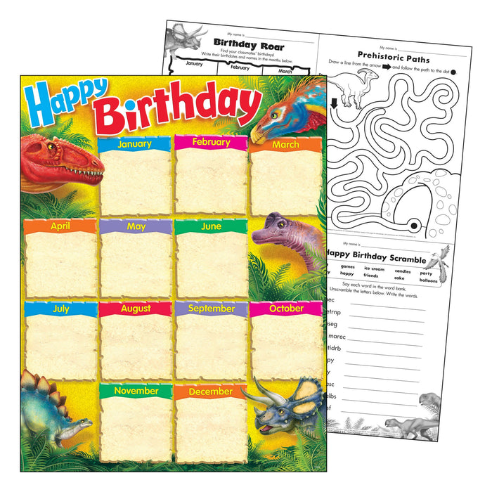 T38494 Learning Chart Birthday Realistic Dinosaurs