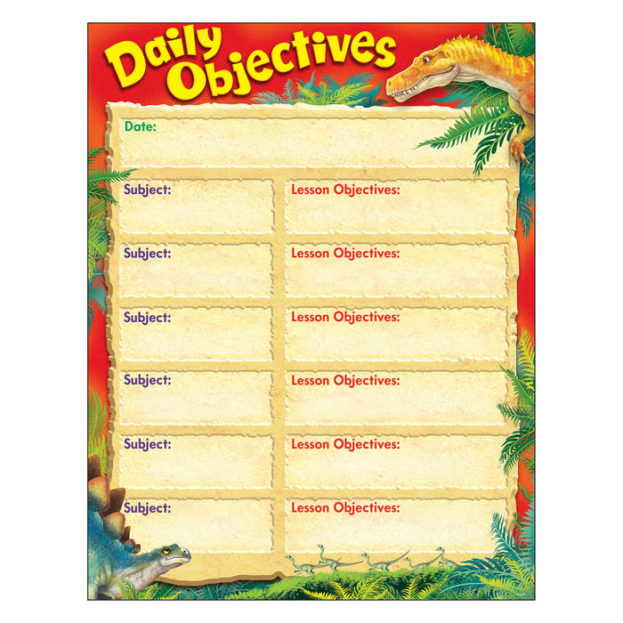 T38495 Learning Chart Daily Objectives Realistic Dinosaurs