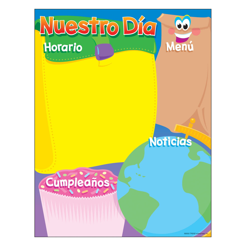T38504 Learning Chart Our Day Spanish