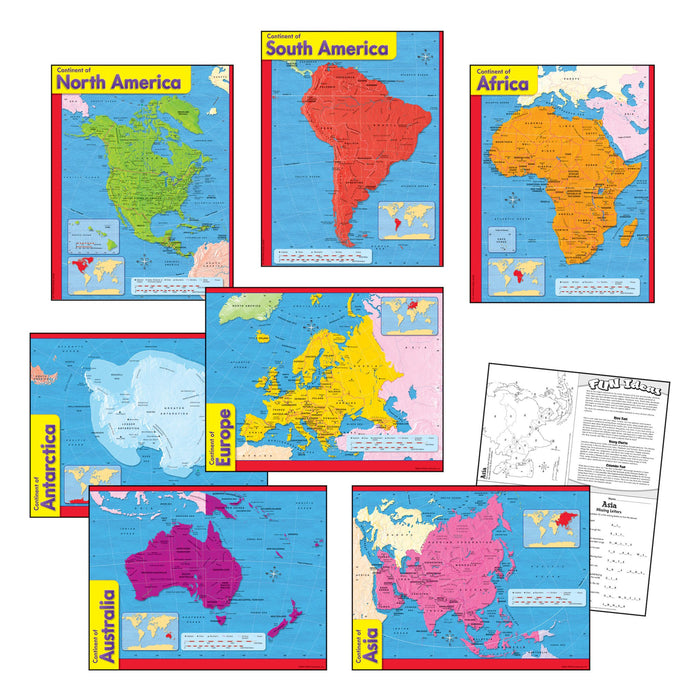 T38930 Learning Chart Pack Continents Maps