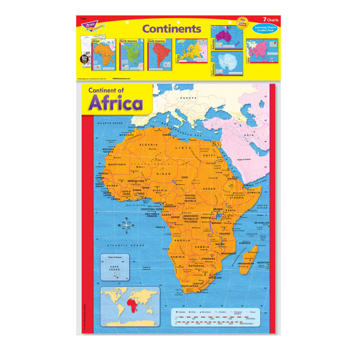 T38930 Learning Chart Pack Continents Maps Package