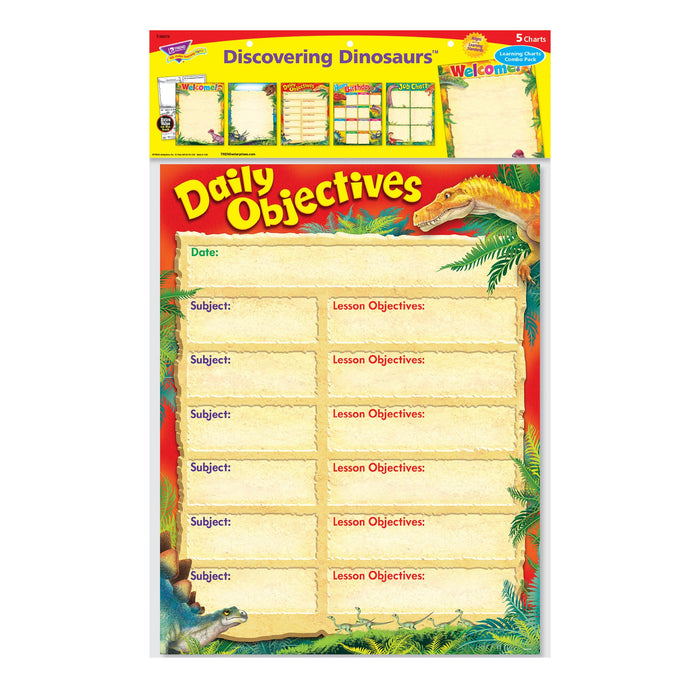 T38978 Learning Chart 5 Pack Discover Dinosaur Package