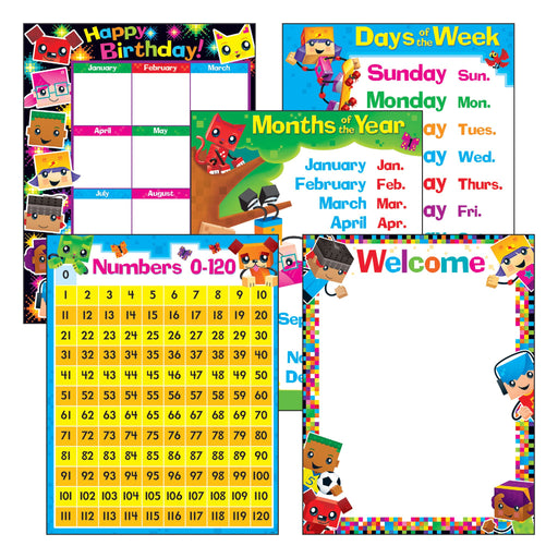 T38981 Learning Chart 5 Pack Classroom Basic Block Star Kids
