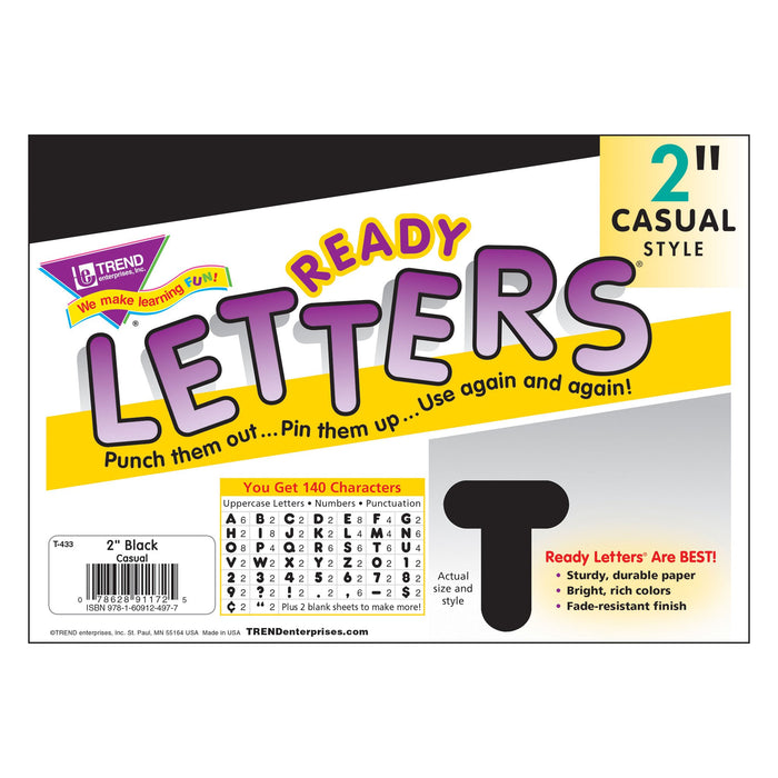 T433 Letters Inch Casual Black Package