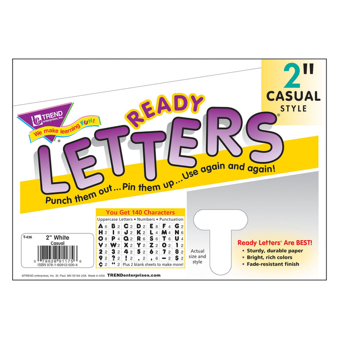 T436 Letters Inch Casual White Package
